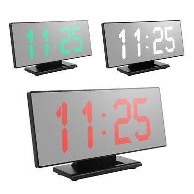 Digital Alarm Clock LED Display Portable Modern USB Port Operated Mirror US