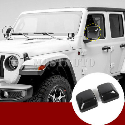 For Jeep Wrangler JL Carbon Fiber Look Rearview Mirror Trim Cover 2pcs 2018-2019