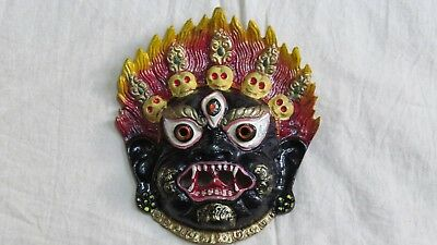 M847 Nepalese well Crafted Wall Hanging Metal art decor Multi color Bhairav MASK