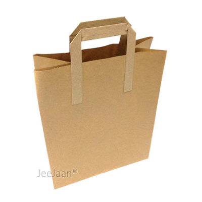 "100 MEDIUM SIZE BROWN KRAFT CRAFT PAPER SOS CARRIER BAGS 8"" x 4"" x 10"""