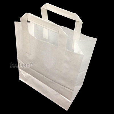 "50 WHITE CHILDRENS PAPER PARTY ART CRAFT CARRIER BAGS SOS Small 7"" x 3½"" x 8½"""