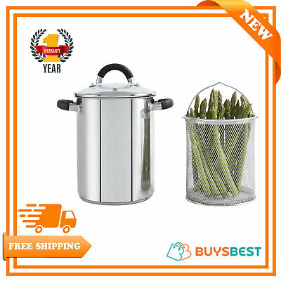 Tower T80840 Asparagus Steamer Essentials Range Asparagus Pot with Removable Basket Stainless Steel