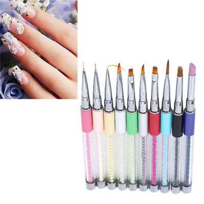 Nail Art Brush Carving Glitter Powder Coating French Liner Flower Drawing Pen LH