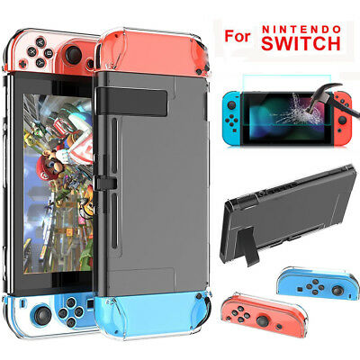 For Nintendo Switch Shockproof Clear 360° Protective Case Cover+Tempered Glass