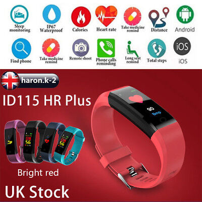 ID115 HR Plus Bluetooth Smart Watch Fitness Tracker Bracelet Heart Rate Steps UK