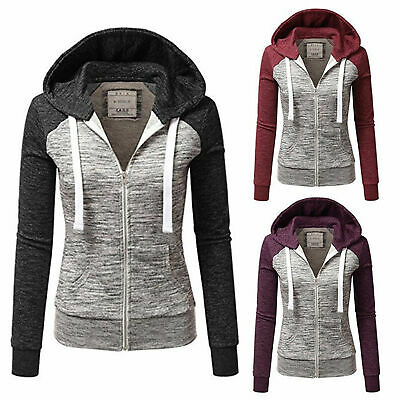 Women/'s Classic Full Zip Up Hoodie Zipper Hooded Cotton Jacket Sweatshirt Ex HK
