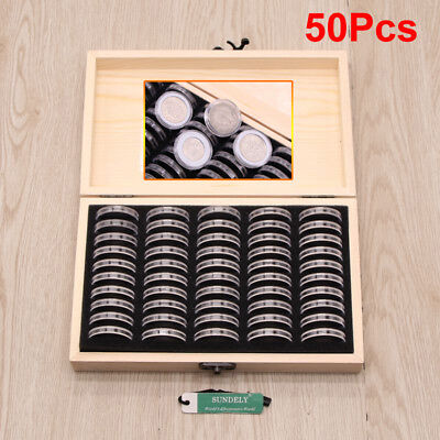Wooden Coins Display Storage Box Case + 50 Round Box Slab Certified Capsules