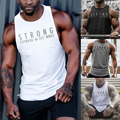 AU Seller Mens Fitness Activewear Tops T-Shirt Gym Bodybuilding Muscle Tee Vests