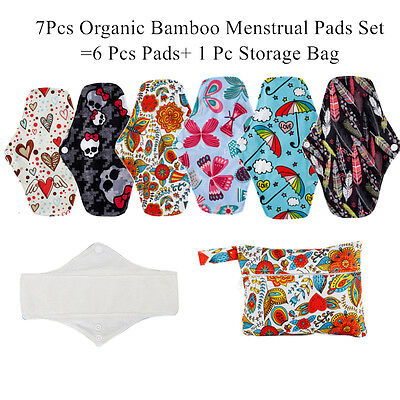 7 Pcs Organic Bamboo Menstrual Pads Sets, Including 6 Pcs  Pads+1Pc Mini Wet Bag