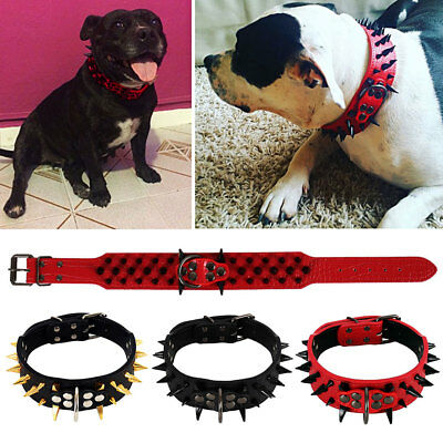 "2"" Large Sharp Spiked Studded Rivet PU Leather Dog Pet Puppy Collar 15''-24''"