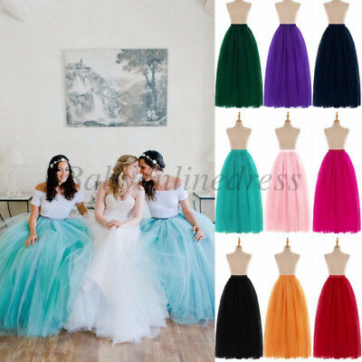 6 Layers Long Women's Tulle Skirts Wedding Bridal Petticoat Ball Gown TUTU Skirt