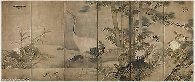 Japanese screen painting big size Flowers and birds in four seasons 2