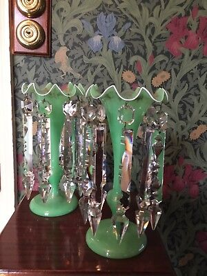Rare Pair Of Antique Victorian Glass Lustres Candlesticks Green Glass