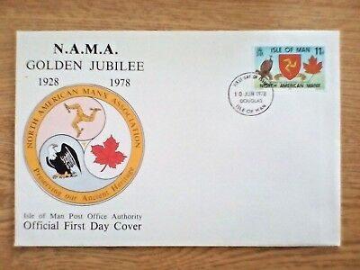 Isle of Man First Day Cover FDC 1978  N.A.M.A. Golden Jubilee American USA