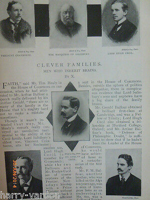 Clever Families Intelligence Balfour Coleridge Rothschild Rare Old Article 1899