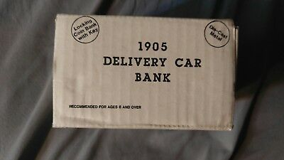 Ertl Amoco 1905 Delivery Car Die-Cast Metal Bank.  White with red roof