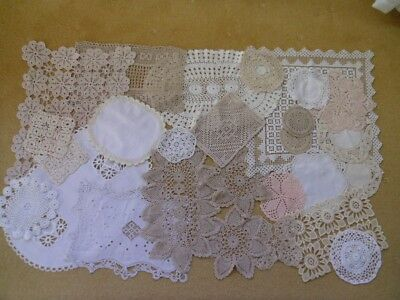 Job lot of 27 Vintage Doilies. Crocheting.Lace.Embroidery.