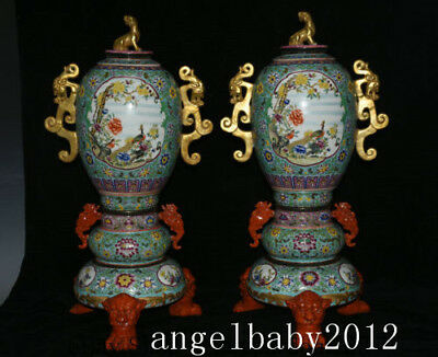 """25"""" A pair Yongzheng Marked Old China Colour Enamels Porcelain Dynasty Censer"""
