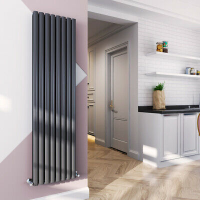 Vertical Column Designer Radiator Oval Flat Panel Double Sand Grey 1800x480mm