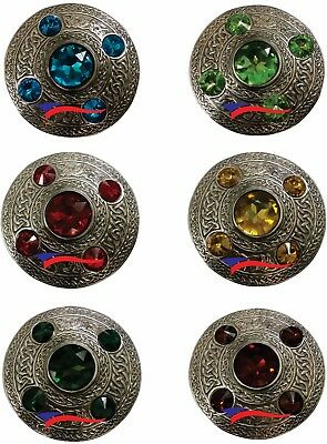 New Celtic Kilt Fly Plaid Brooch Various Stones Silver Antique Pin & Brooches 4""