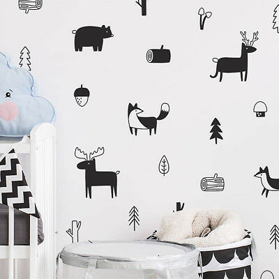 Nordic Style Tree Wall Art Wall Stickers Modern Decals Woodland Mural