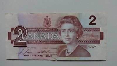 Canada Two  Dollar 1986 bank note