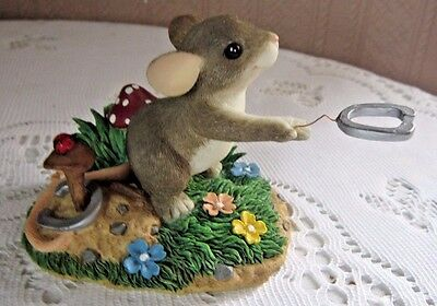 """Fitz Floyd Charming Tails """"give Luck A Shot"""" Horseshoes Mouse Figurine83/106"""