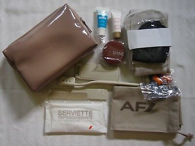 New Air France Airline Business Class Travel Flight Amenity Bag Kit Tan Beige