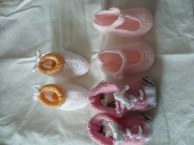 lot de 3 paires de chaussons layette rose/orange