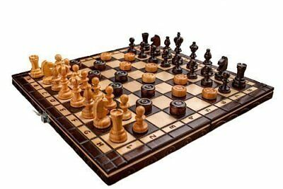 Prime Chess Hand Crafted Cherry Wooden Chess and Draughts Set 35 x 35 Centimeter