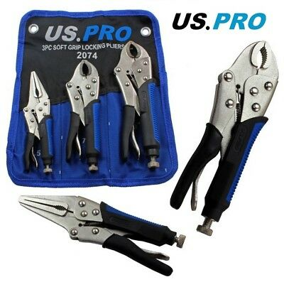 3pc LOCKING PLIER SET by US PRO TOOLS Long nose & curved jaw mole vise grips