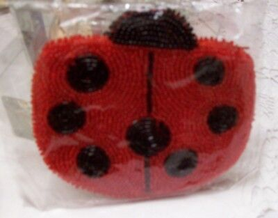 Gorgeous Beaded Bead Red & Black Ladybug Purse Wallet NWT in Sealed Bag Insect