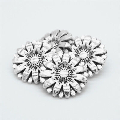 New 10x Metal Sunflower Carved Antique Sewing Craft DIY Silver Shank Buttons