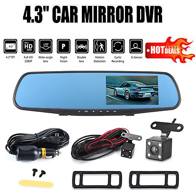 4.3 inch HD Dual Lens Car DVR Dash Cam Front & Rear Mirror Camera Video Recorder