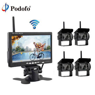 "7"" Monitor + 4x Wireless IR Rear View Back up Camera System for RV Truck 12-24V"