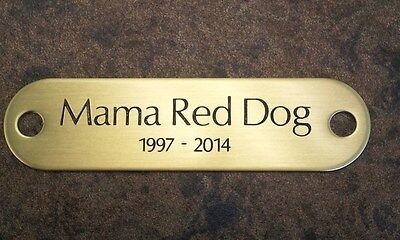 """Memorial Brass name plate 3"""" x 3/4""""  for pet wood urn box"""