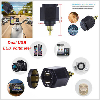 Waterproof Motorcycle Dual USB Charger Adapter w/ LED Voltmeter 5V 4.2A For BMW