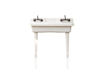 White Kohler K-6607-4-0 Harborview Kitchen Farm Sink Vintage Style Porcelain