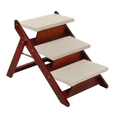Folding Pet Steps Convertible to Ramp - For Dogs & Cats - Wood, Mahogany Finish