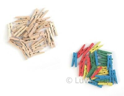 Mini Wooden Clothes Pegs Natural Coloured Crafts Embellishments Wedding 25 mm
