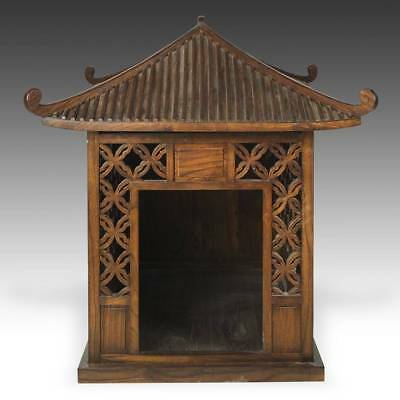 Stunning Contemporary Luxury Hand-Made Dog House Kennel Carved Elm Wood Chinese
