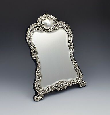 "Victorian Silver Easel Back 12"" Dressing Table Mirror Henry Matthews"