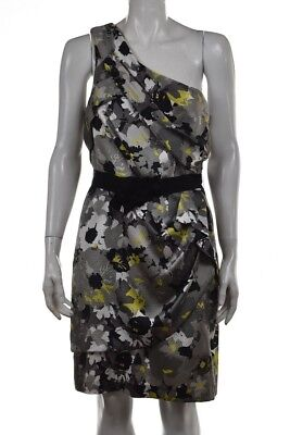 NEW Max and Cleo Dress Size 10 Gray Printed Sheath One Shoulder Knee Length