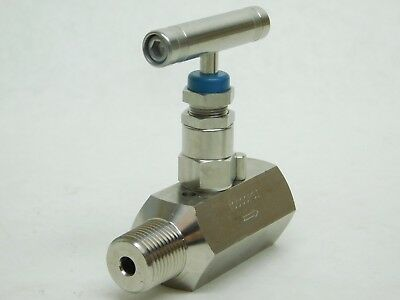 "NEW! STAINLESS STEEL NEEDLE VALVE 1/2"" MNPT x FNPT 316SS 10000PSI FREE SHIP! IG"