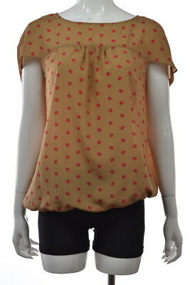 219744aa18a9 Ann Taylor LOFT Womens Top Size S Brown Pink Polka Dot Blouse Shirt Cap  Sleeve