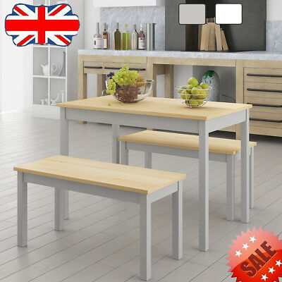 solid pine wood dining table chair bench set kitchen home furniture rh picclick co uk drawing dining set dining table + chair + bench Bench with Dining Table Set
