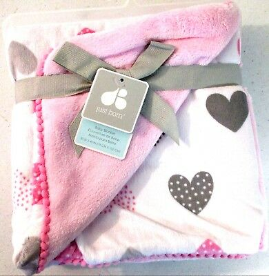 Just Born Pink White Hearts Patchwork Popcorn Dots Sherpa Blanket 8657