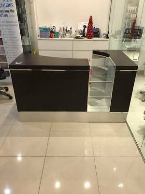 REM Solid and Heavy Brown Beauty/Hair Salon Reception Desk with Glass Display