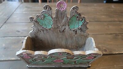 Vintage Flower Painted Wood WALL BOX 8.75 X 8 x 4.25 inches