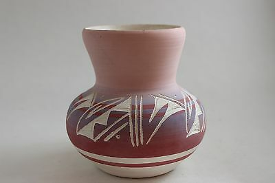 Vintage Navajo Signed Vase Jar Pink Tom Jones